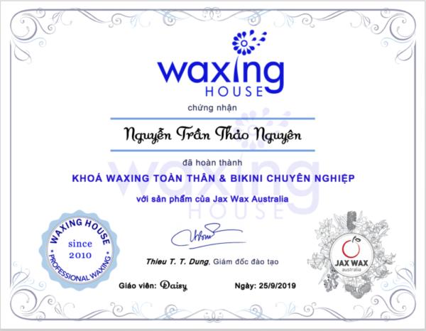 Chứng chỉ của Waxing House